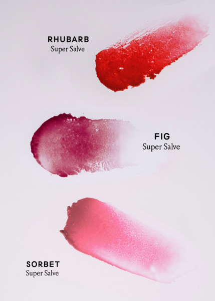 Rhubarb, Fig and Sorbet Super Salve color smear samples